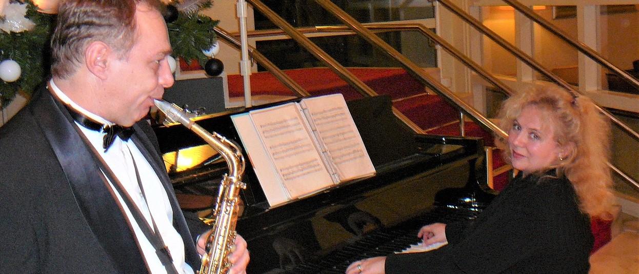 Live muziek duo jazz optreden saxofoon piano light and jazzy